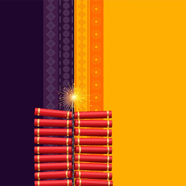 Hindu diwali festival cracker background Free Vector