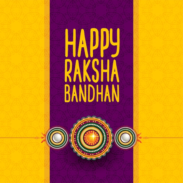 Hindu festival of happy raksha bandhan greeting Free Vector