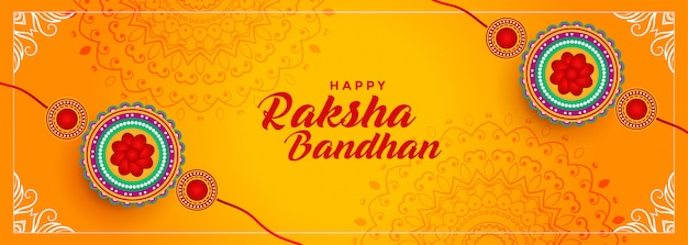Hindu festival of raksha bandhan banner design Free Vector