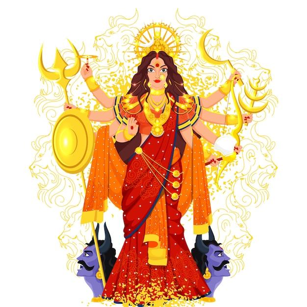 Hindu mythology goddess durga maa illustration Premium Vector