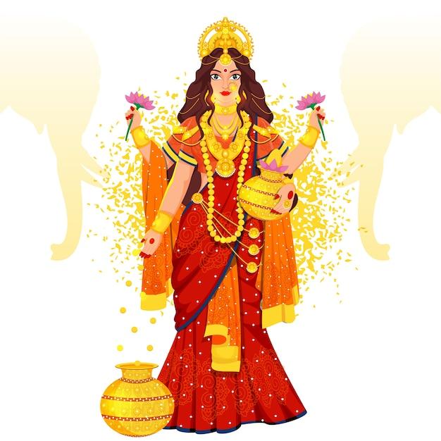 Hindu mythology goddess laxmi illustration Premium Vector