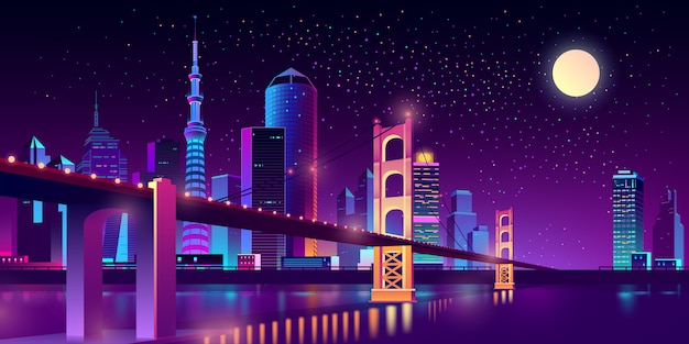 Hinged bridge in megapolis on river Free Vector