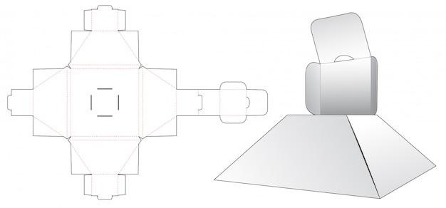 Hinged pyramid box die cut template design Premium Vector