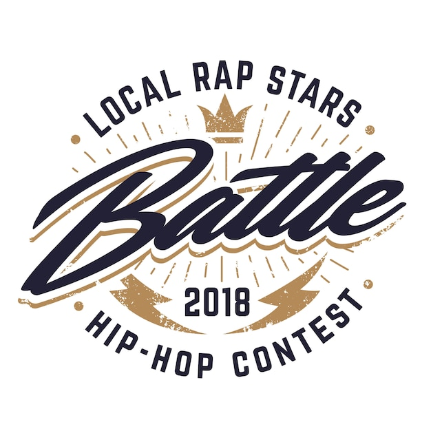 Эмблема битвы хип-хоп Premium векторы