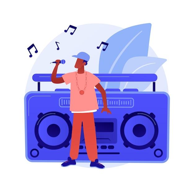 Хип-хоп музыка абстрактное понятие векторные иллюстрации. уроки рэп-музыки, онлайн-бронирование выступления, вечеринка в стиле хип-хоп, студия звукозаписи, мастеринг звука, абстрактная метафора для производства промо-видео. Бесплатные векторы