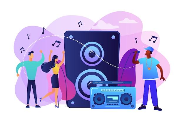 음악 스피커에서 마이크와 콘서트에서 춤추는 작은 사람들이있는 힙합 가수. 힙합 음악, 힙합 파티, rap 음악 수업 개념. 무료 벡터