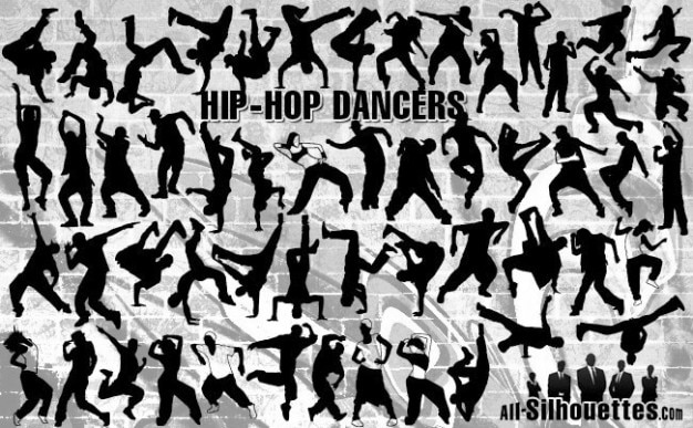 Hiphop dancers silhouettes