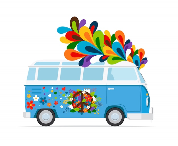 Hippie bus Premium Vector