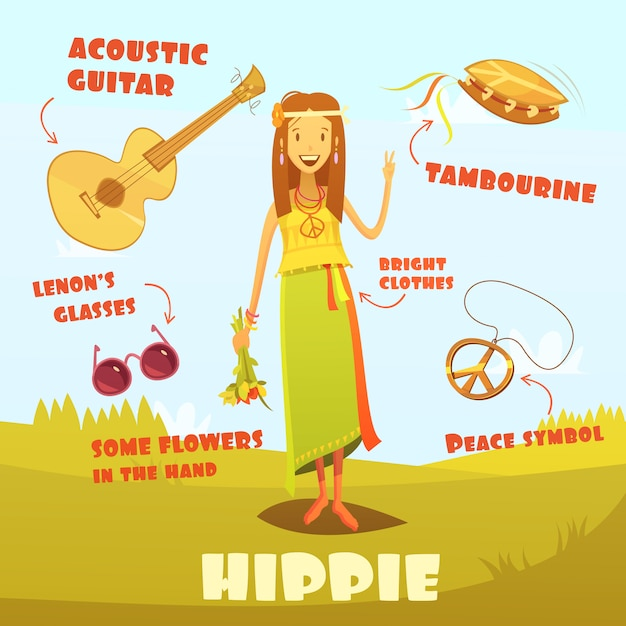 Hippie character illustration Free Vector