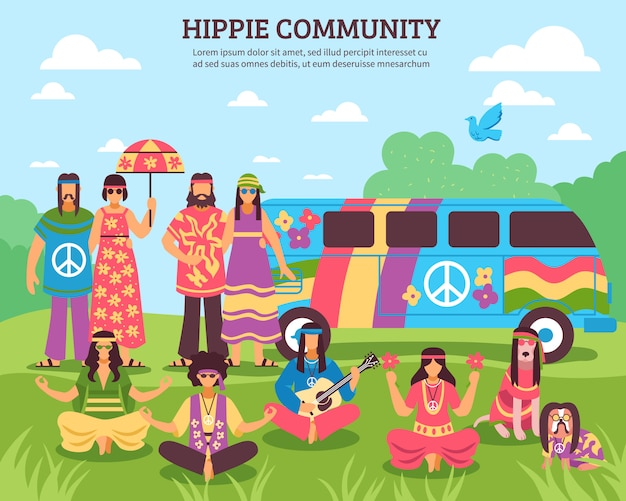 Hippie community outdoor composition Free Vector
