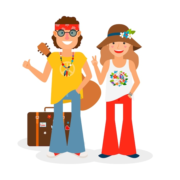 Hippie couple hitchhiking with guitar and suitcase Premium Vector