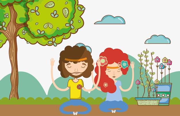 Hippie couple at nature Premium Vector