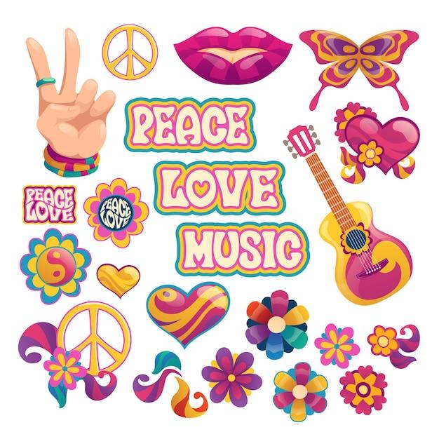 平和、愛、音楽のレタリングとヒッピーの要素 無料ベクター
