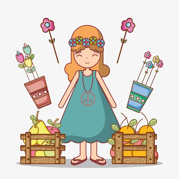 Hippie girl cartoon Premium Vector
