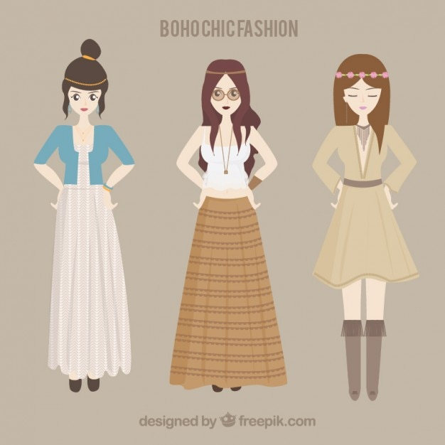Hippie girls with boho clothes Free Vector