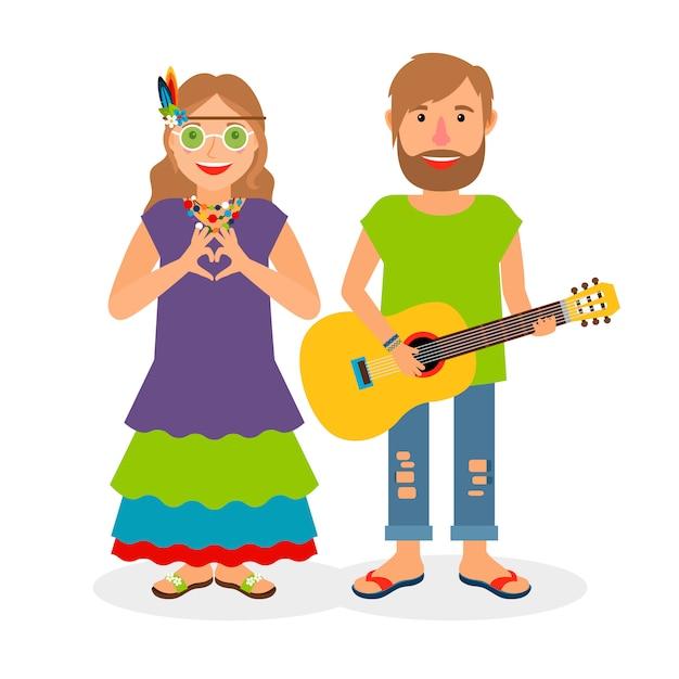 Hippie love couple Premium Vector