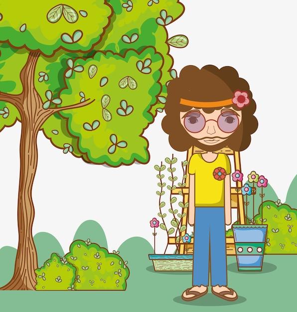 Hippie man cartoon Premium Vector