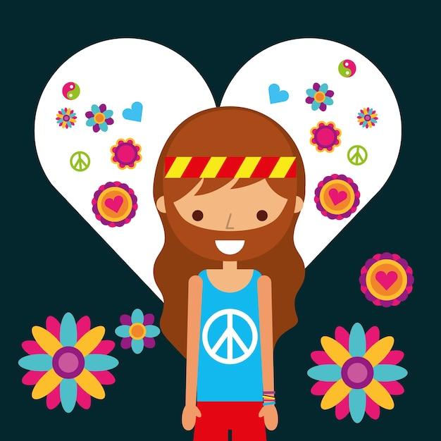 Hippie man character in love heart flowers Premium Vector