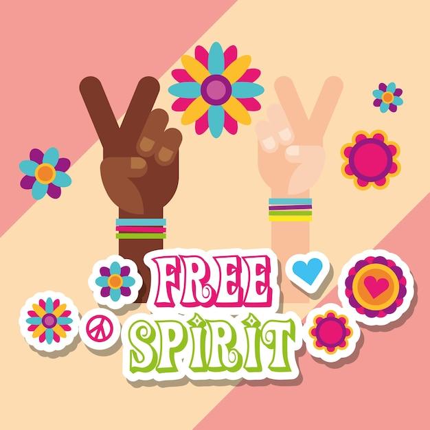Hippie multiracial hands flowers stickers free spirit Premium Vector