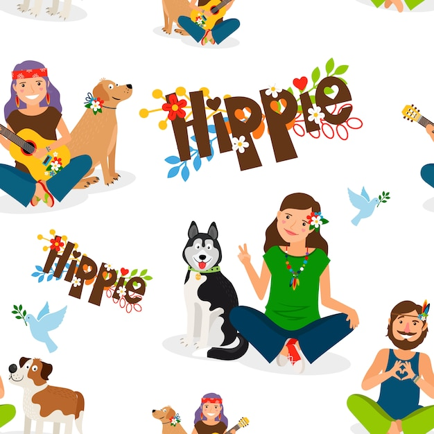 Hippie people and dog seamless pattern Premium Vector
