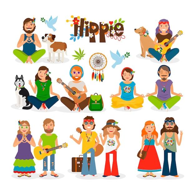 Hippie vector illustration Premium Vector