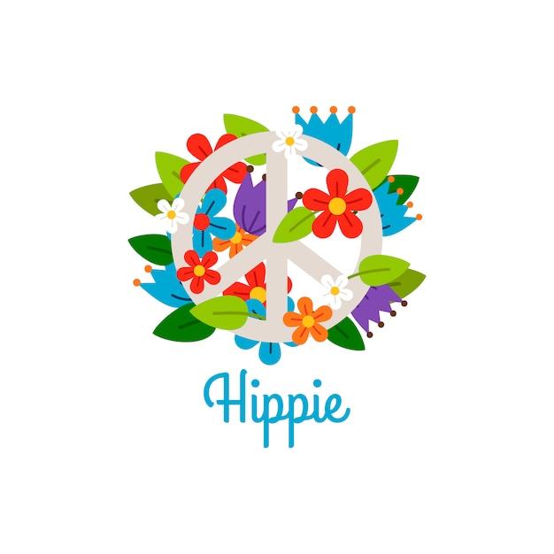 Hippie vintage label with flowers Premium Vector