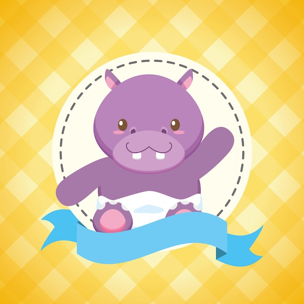 Hippo for baby shower card Free Vector