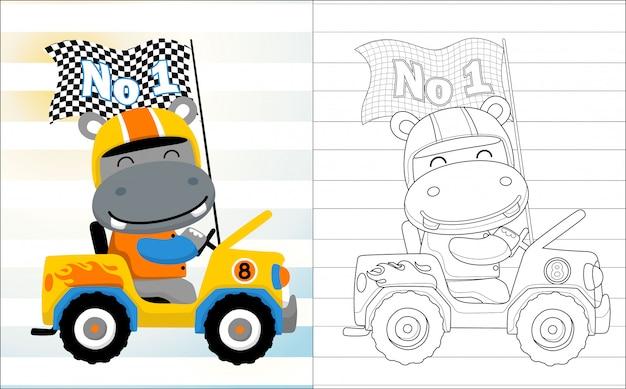 Hippo cartoon the funny car racer Premium Vector