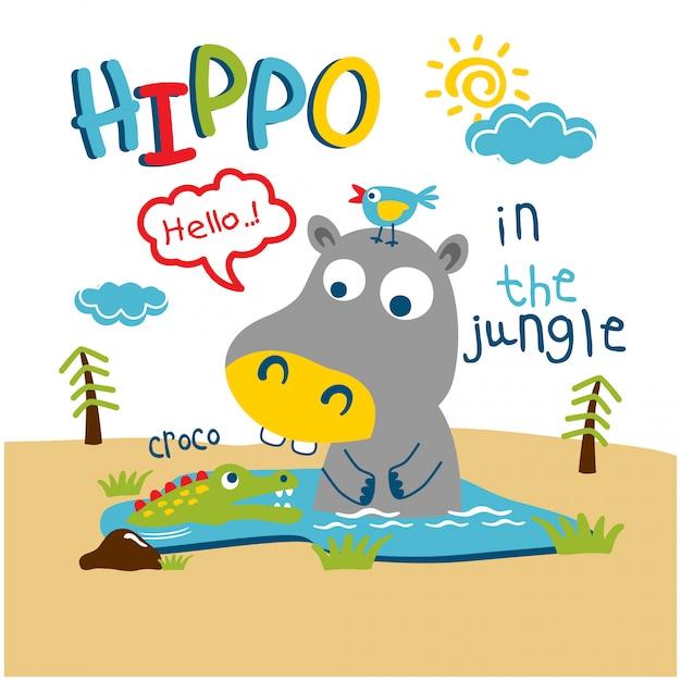 Hippo and crocodile in the jungle funny animal cartoon Premium Vector