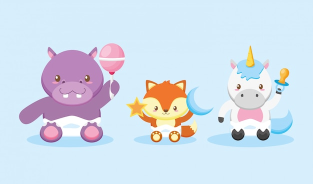 Hippo, fox and unicorn for baby shower card Free Vector