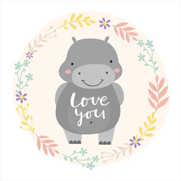 Hippo valentine i love you Free Vector