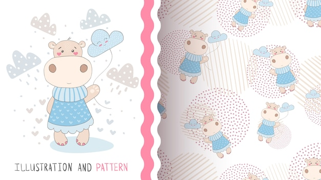 Hippo with cloud seamless pattern Premium Vector