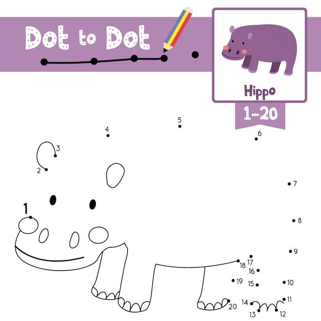Hippopotamus dot to dot game and coloring book Premium Vector