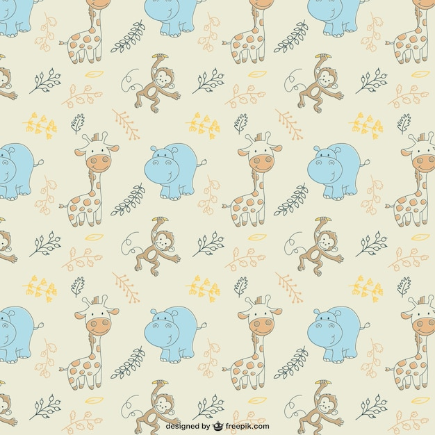 Hippos and giraffes pattern Free Vector