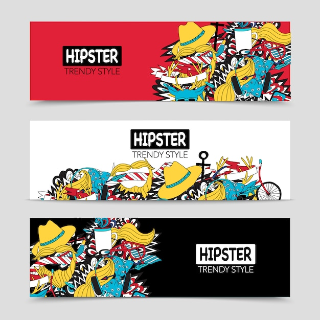 Hipster 3 interactive horizontal banners set Free Vector