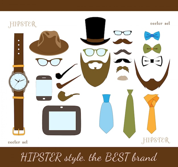 Hipster accessory icons set Free Vector