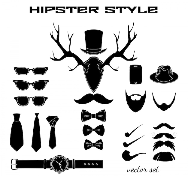 Hipster accessory pictograms collection Free Vector
