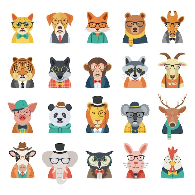 Avatar 2 Animals: Hipster Animal Avatar Set Vector