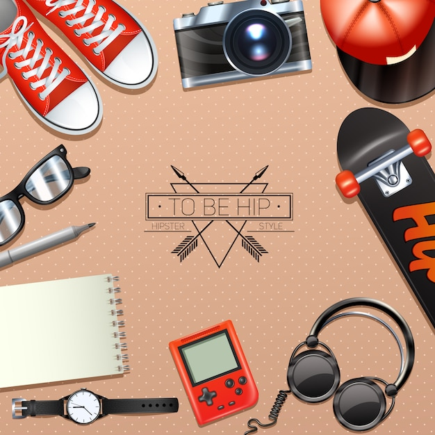 Hipster background with fashion symbols and modern accessory Free Vector
