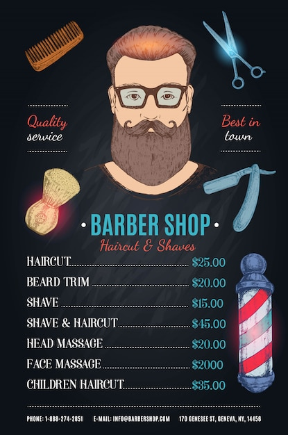 Hipster barber shop pricing template Free Vector