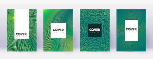 流行に敏感なパンフレットテンプレートセット。暗い背景に緑の抽象的な線。素晴らしいパンフレットのデザイン。素晴らしいカタログ、ポスター、本のテンプレートなど。 Premiumベクター