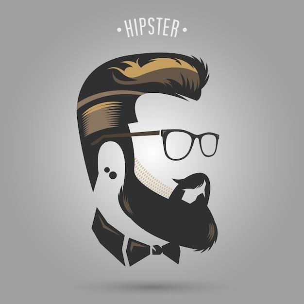 Hipster brown hair Premium Vector