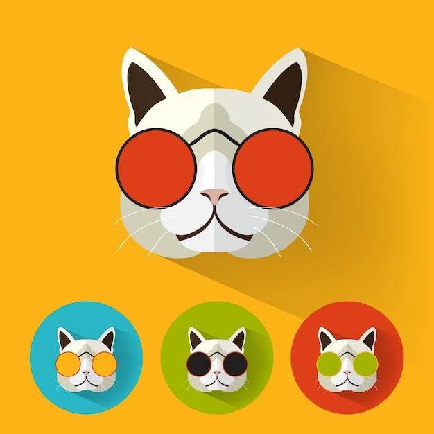 ロングシャドウのヒップスター猫 無料ベクター