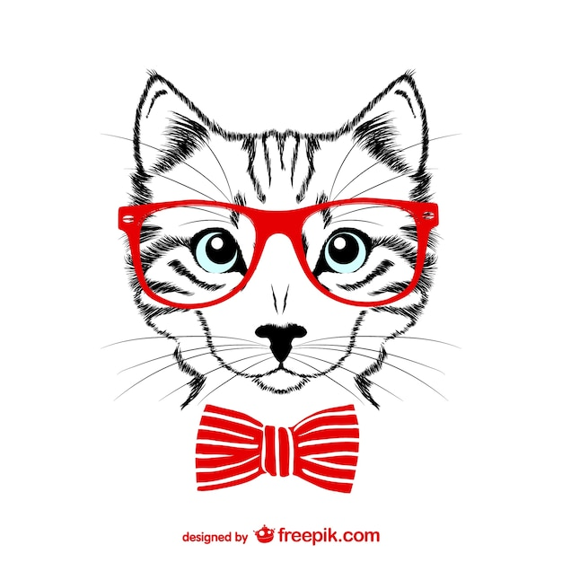 Hipster cat with red glasses Free Vector