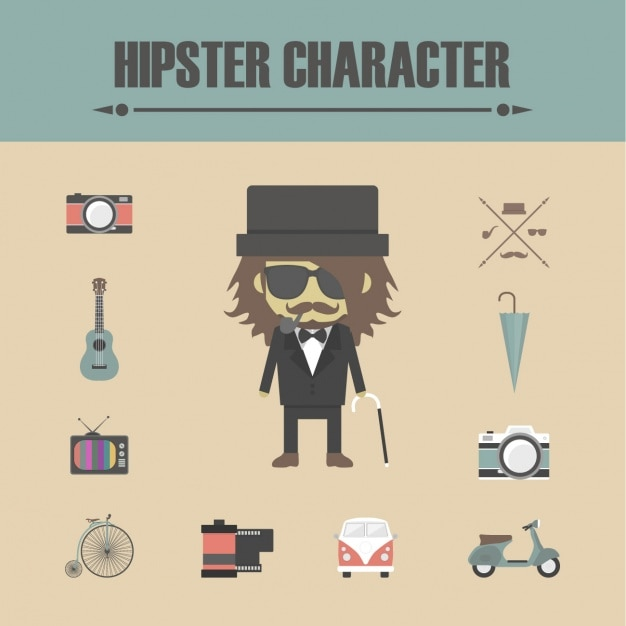 Hipster character elements Free Vector