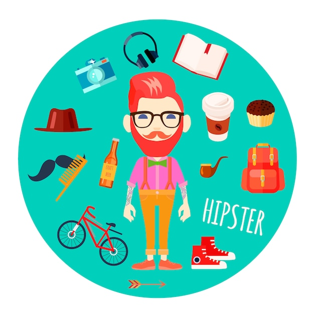 Hipster character man with red hair fake mustache and retro accessories Free Vector