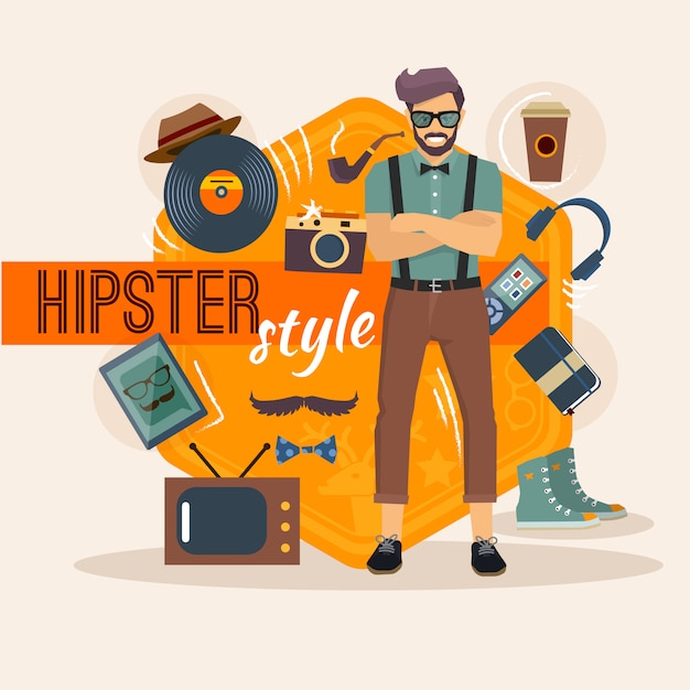 Hipster character pack for geek man with fashion accessory and objects Free Vector