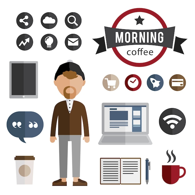 Hipster character with elements. coffee cup, computer, notebook, wi-f Free Vector