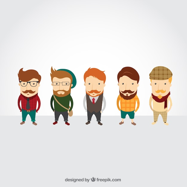 Cartoon 5 Characters : Hipster characters vector free download