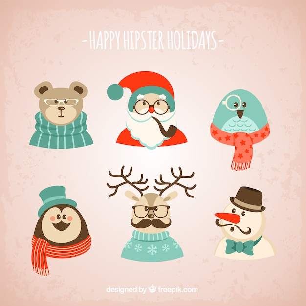 Hipster Christmas characters Free Vector